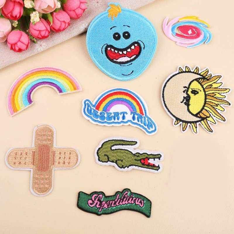 PGY Anime Rainbow Patch Applique Cute Cartoon Iron On Band-aid Patches crocodile Embroidered Patches For Clothing DIY Sticke