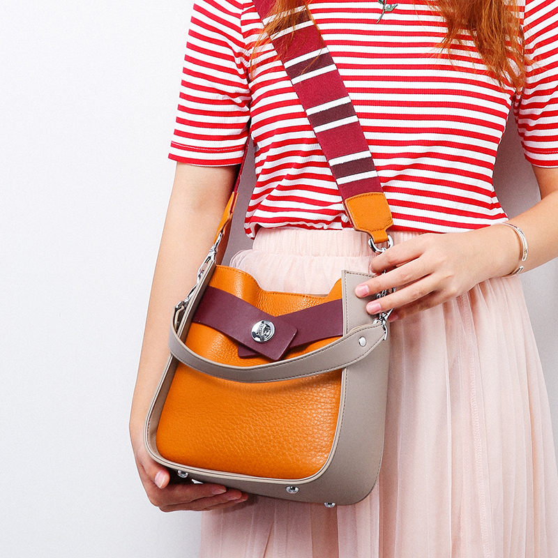 Women\'S Bags Wide Strap Bucket Crossbody Bags Women Small Genuine Leather Shoulder Bags Ladies Messenger Bags Bolsos Mujer
