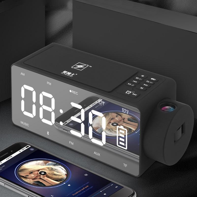 Recharge Projection horloge numérique sans fil Bluetooth haut-parleur LED grand écran réveil Snooze FM bricolage musique horloges US Plug