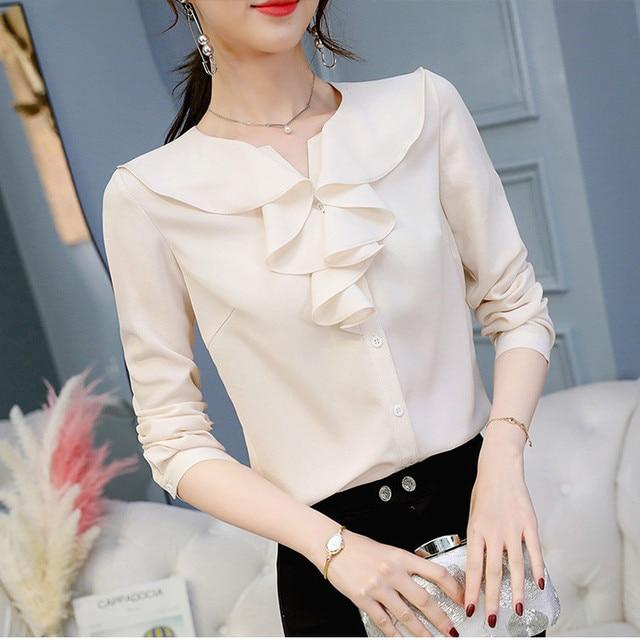 Women Ruffled Chiffon Blouses & Tops Female Slim Fit Long Sleeve Shirt Casual Loose Tops 1