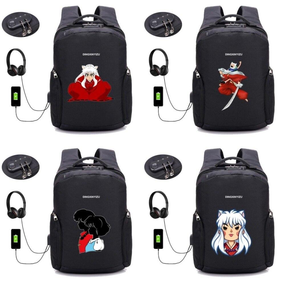 Japon anime Inuyasha sac à dos USB trou externe Anti voleur voyage pochette d'ordinateur école étudiant livre sac à dos 8 style