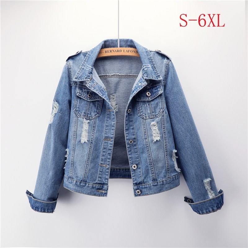 2019 Spring Denim Jacket Women Plus Size 5XL 6XL Short Jeans Jacket   Coats   Light Washed Slim Outwear jacket casaco feminino ZO013