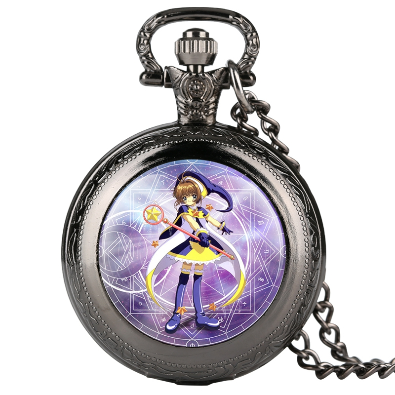 Magic Card Girl Cherry Magic Array Cherry Animation Quartz Pocket Watches For Girls Necklace Pendant Chain Gifts