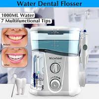 Nicefeel botella de agua 1000ML hilo Dental eléctrico irrigador Oral cuidado Dental hilo de agua cepillo de dientes Dental SPA con 7 piezas consejos