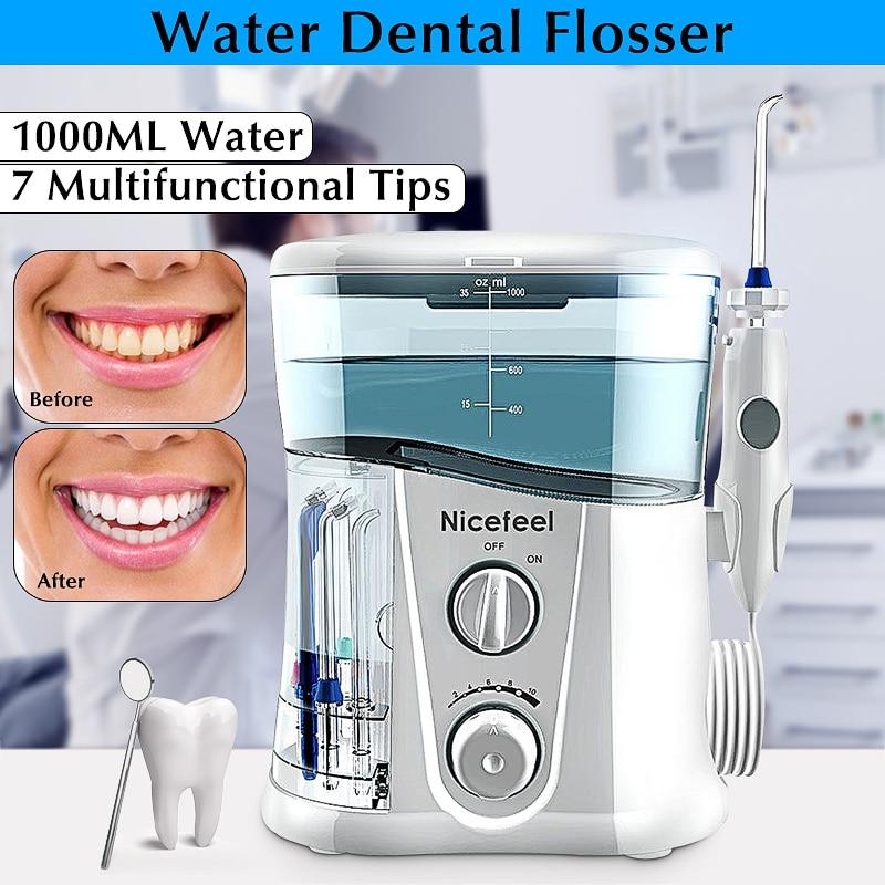 Nicefeel botella de agua 1000 ML hilo Dental eléctrico irrigador Oral cuidado Dental hilo de agua cepillo de dientes Dental SPA con 7 piezas consejos