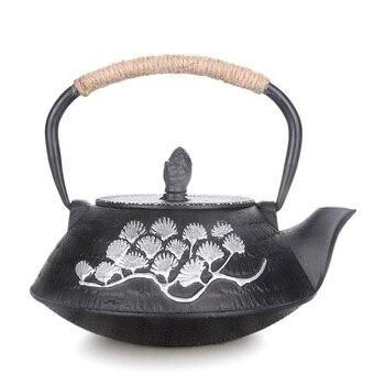 Japanese kungfu teapot handmade cast iron water kettle tea pot with filter net tea pine needle drawing gold health boiler 0.8L