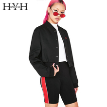 HYH HAOYIHUI Street Simple Casual Contrast Color Thread Collar Coat Letter Embroidery Short Bomber Jacket