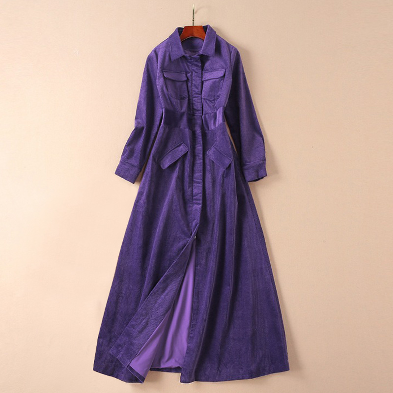 Image 2 - clothes women outwear runway 2019 fall winter woman corduroy  purple coat flap pockets a line long sleeve maxi trench coatTrench   -