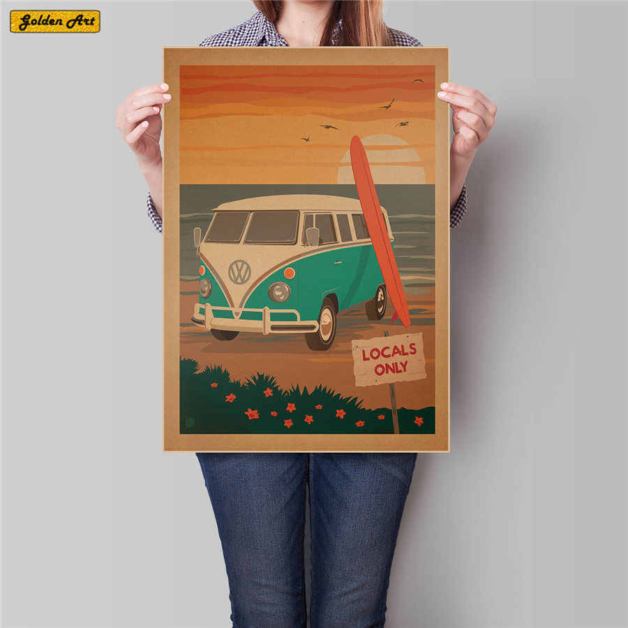 CITY Travel Vintage kraft paper poster sea summer retro painting for bar pub cafe wall sticker home decoration 45.5x31.5cm