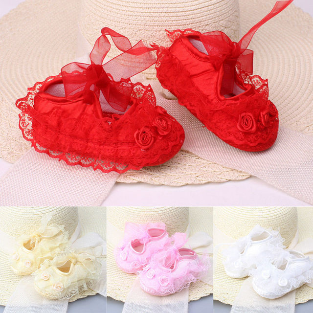 2019 Spring New Cute Baby Girls Newborn Infant Baby Toddler Lace Frilly Flower Non-Slip Shoes 1