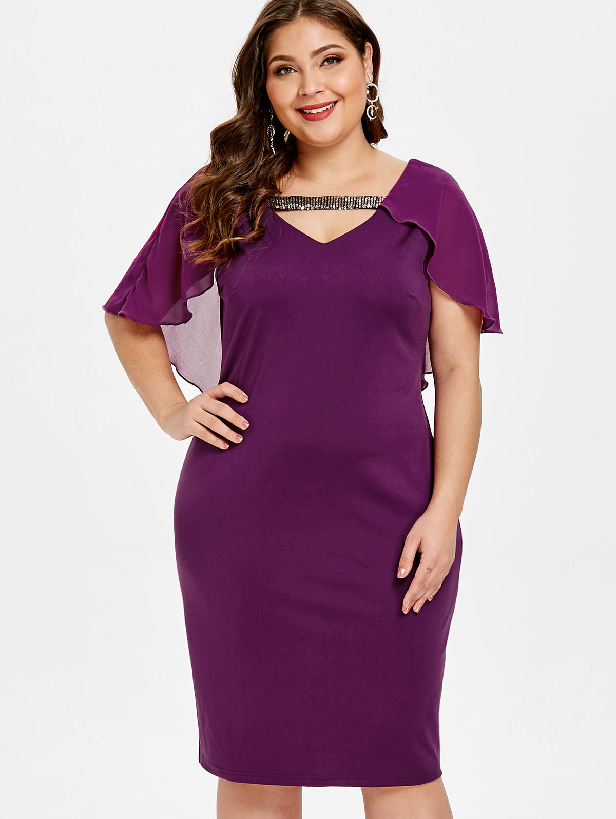 24644f6fd0 Wipalo kobiety Plus Size Cut Out olśniewająca szczegóły Bodycon sukienka  dziurka szyi płaszcz rękawy wzburzyć stałe