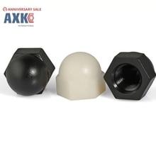 20Pcs DIN1587 RoHS M3 M4 M5 M6 M8 M10 Black And White Nylon Nut Plastic Cap Nuts Decorative Acorn AXK09