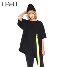 HYH HAOYIHUI Summer T-shirt  New Girl Simple Frontal Open Metal Ring Ribbon Basic Pure Color Black Short Sleeve