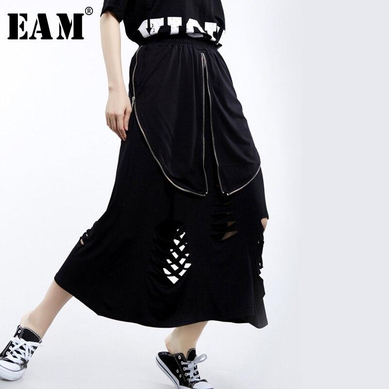 [EAM] 2020 New Spring Summer High Elastic Waist Black Irregular Hollow Out Zipper Half-body Skirt Women Fashion Tide JU150