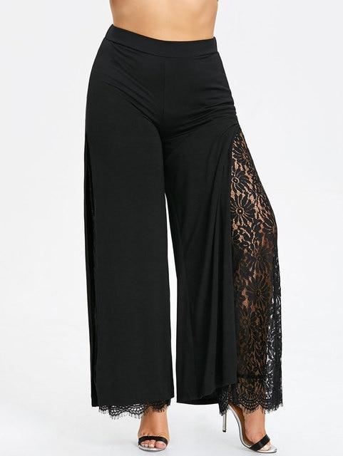 1bff450d0ab Kenancy Plus Size Women Summer Wide Leg Pants Casual Loose High Slit Lace  Palazzo Pants Women