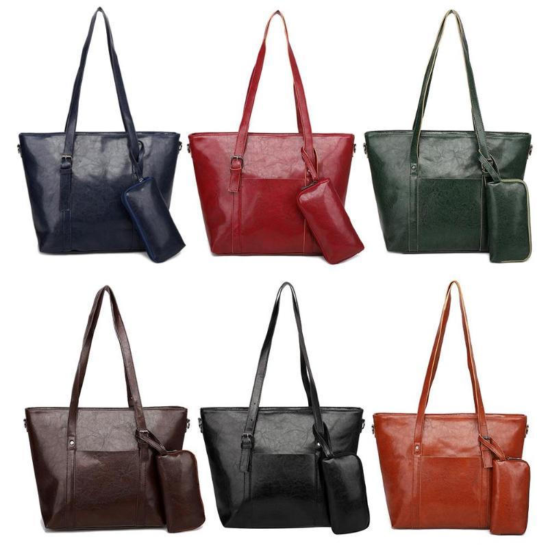 2Pcs/Set Solid Color Women Large Capacity PU Leather Totes Travel Shopping Handbag Bag Clutch Shoulder Bags Purse