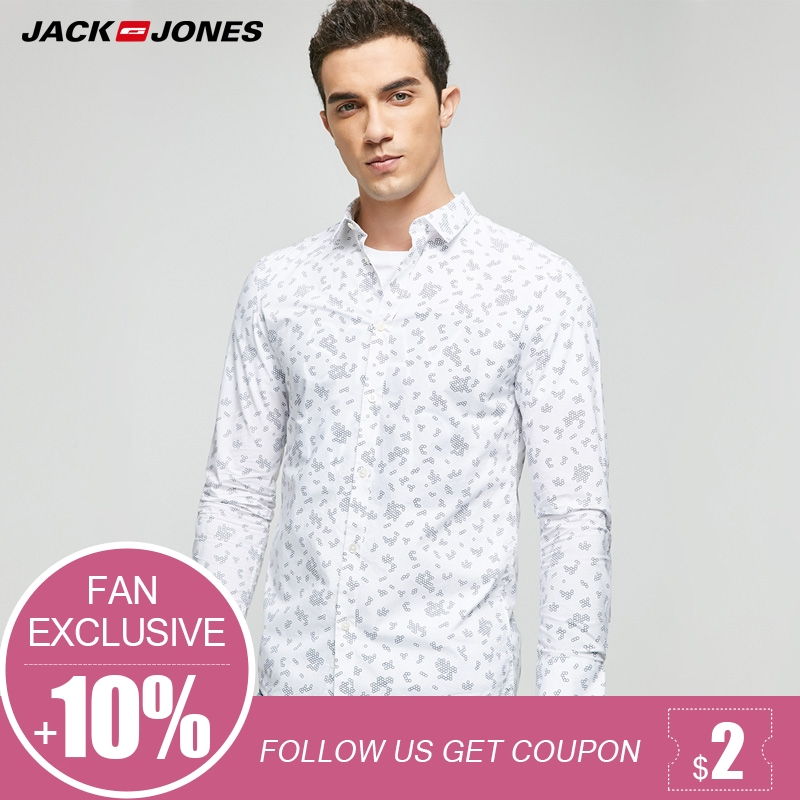 JACK&JONES Brand NEW 100% COTTON casual print turn-down collar young slim fashion full len