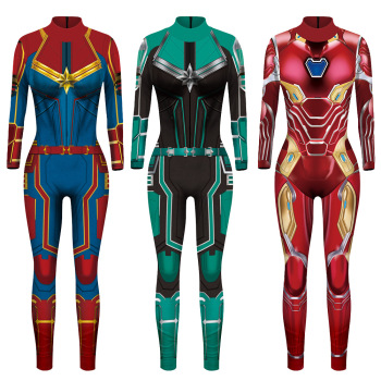 VIP FASHION 2019 New 3D Super Hero Captain Costume Cosplay Women Marvel Movie Jumpsuit Costumes For Women Plus Size  Jumpsuit