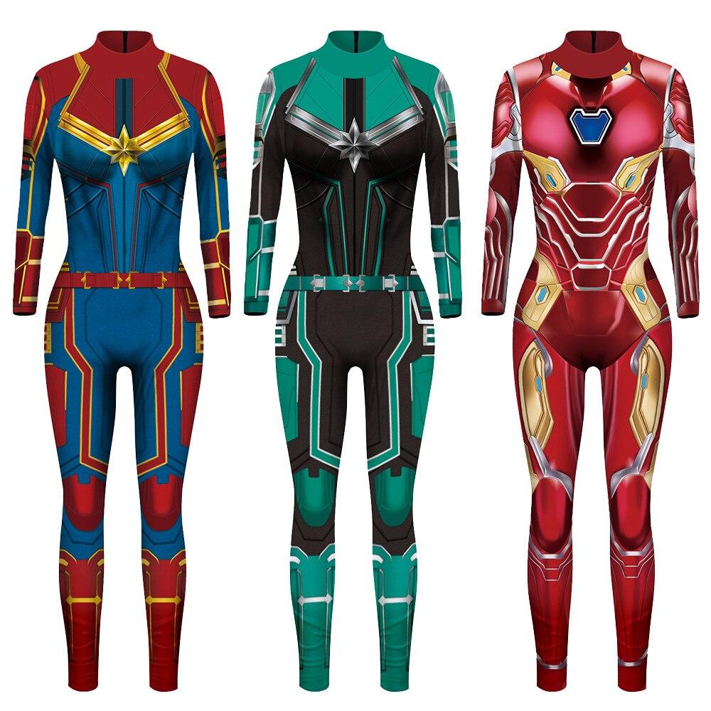 Vip moda 2019 nova 3d super herói capitão traje cosplay feminino marvel filme macacão trajes para mulher plus size macacão