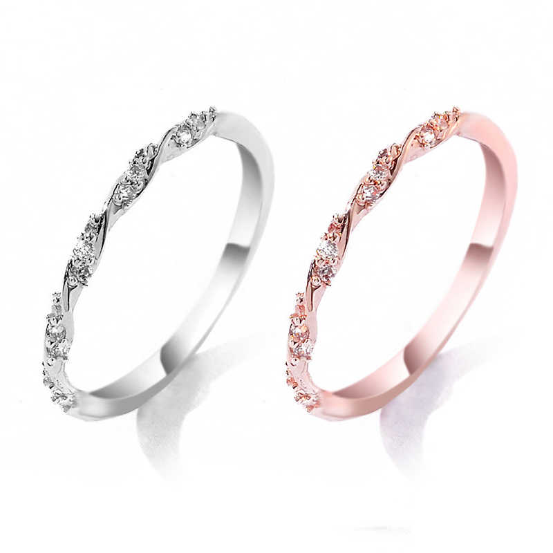 Shellhard Trendy Jewelry Bridal Accessories Bohemia Crystal Twisted Ring Elegant Women Charming Finger Ring Anniversary Gift