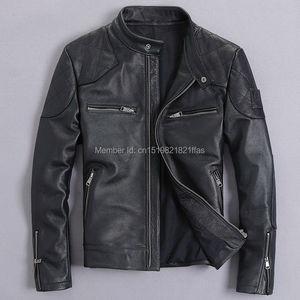 Image 2 - Bakham אמיתי עור זכר עור בגדי אופנוע בגדי עור מעיל דק צווארון עומד קצר עיצוב בקהאם עור