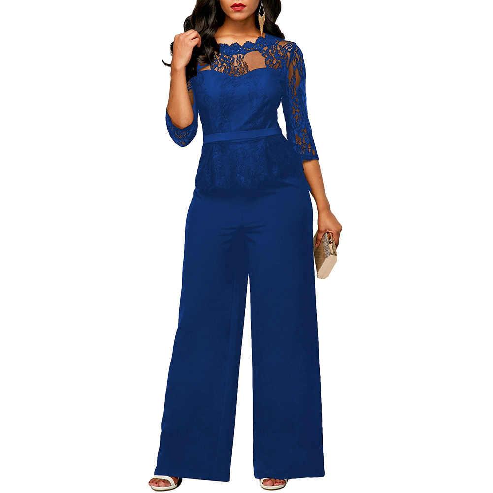 ใหม่ผู้หญิงใหม่ลูกไม้,โพลีเอสเตอร์ 3/4 แขน O-คอ Casual แฟชั่น Jumpsuit Rompers Elegant ขากว้างกางเกงสุภาพสตรี Workwe