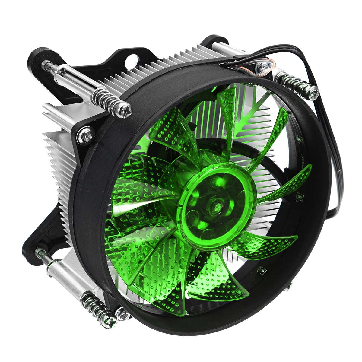 4 Pin Green LED CPU Dual Cooling Fan PC Quiet Cooler Heatsink Radiator