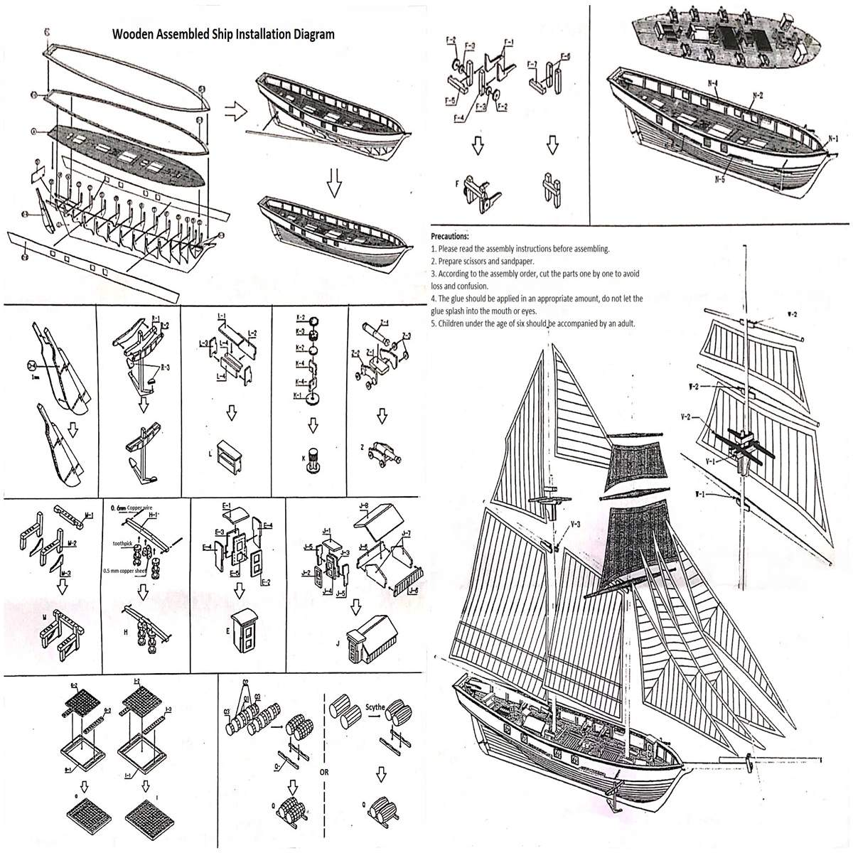 US $17 24 22% OFF|1:130 Scale Sailboat Model 380x130x270mm DIY Ship  Assembly Model Kits Classical Handmade Wooden Sailing Boats Children Toys  Gift-in