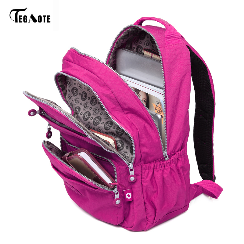 TEGAOTE Fashion Women Backpack High Quality Nylon Backpacks for Teenage Girls Female School Shoulder Bag Bagpack mochila tegaote new design women backpack bags fashion mini bag with monkey chain nylon school bag for teenage girls women shoulder bags