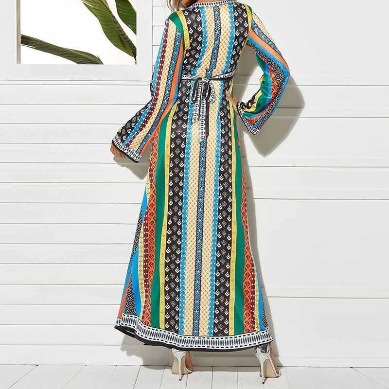 ฤดูร้อน Boho แขนยาวชุดลำลอง V คอลายชาติพันธุ์พิมพ์สุภาพสตรี Aline ลูกไม้ผู้หญิง Maxi สีเขียวชุด 2019