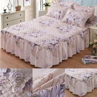 3pcs/Set Pillow Cover Queen size Chandler Bed Skirt Winter Floral Print Quilted Thickened Bedspread Bed Skirt Fitted Sheet