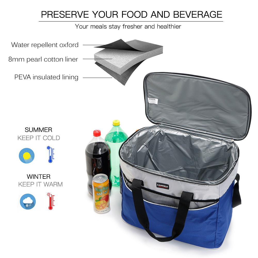 03b070eb9d85 Lixada 34L Outdoor Insulated Bag Cooler Lunch Tote Thermal Bento Bag  Camping BBQ Picnic Food Freshness Insulated Cooler Bag Hike
