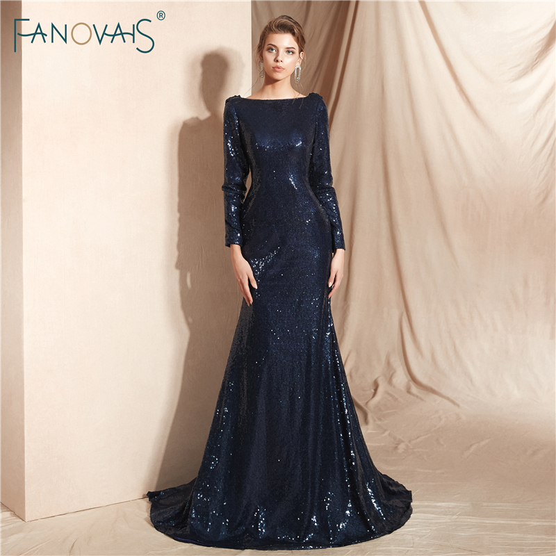 Navy Evening Dresses Long Sleeves Sequin Fabric Shiny Mermaid Evening Gown 2018 Open Back Formal Party