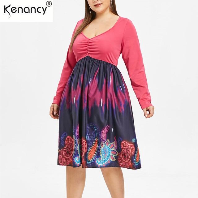 7c62af52204be Kenancy Plus Size Paisley Plunge Paisley Print A Line Dress Bohemian Robe  High Waist Print Vestidos Summer Long Sleeves Dresses