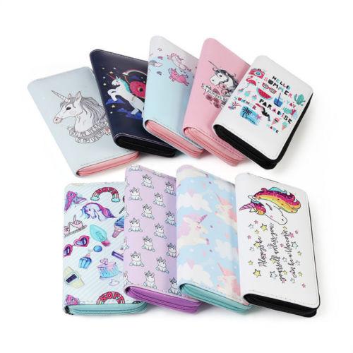 Cute Cat Seamless Pattern Women Leather Zipper Wallet Interior Pocket