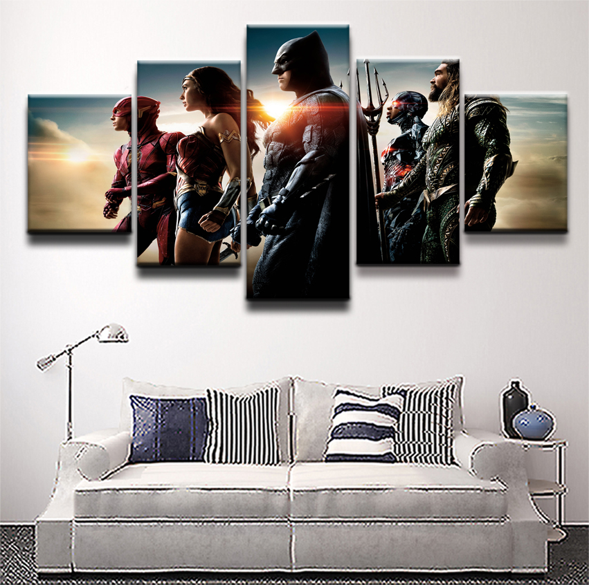 Canvas Printed 5 Panel Movie Justice League Modular Picture Poster Home Decor Modern Artwork Wall Art Painting For Living Room in Painting Calligraphy from Home Garden