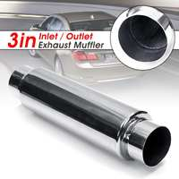 Universal Car Exhaust Resonator Muffler 76mm Inlet Outlet Exhaust Tip Pipe Tail Tube Silencer