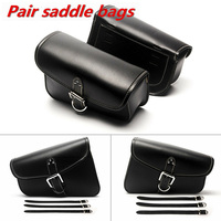 1 Pair Motorcycle Saddle Bag Motor Saddle PU Leather Tool Bag Universal For Harley Right Left Mounting Strap