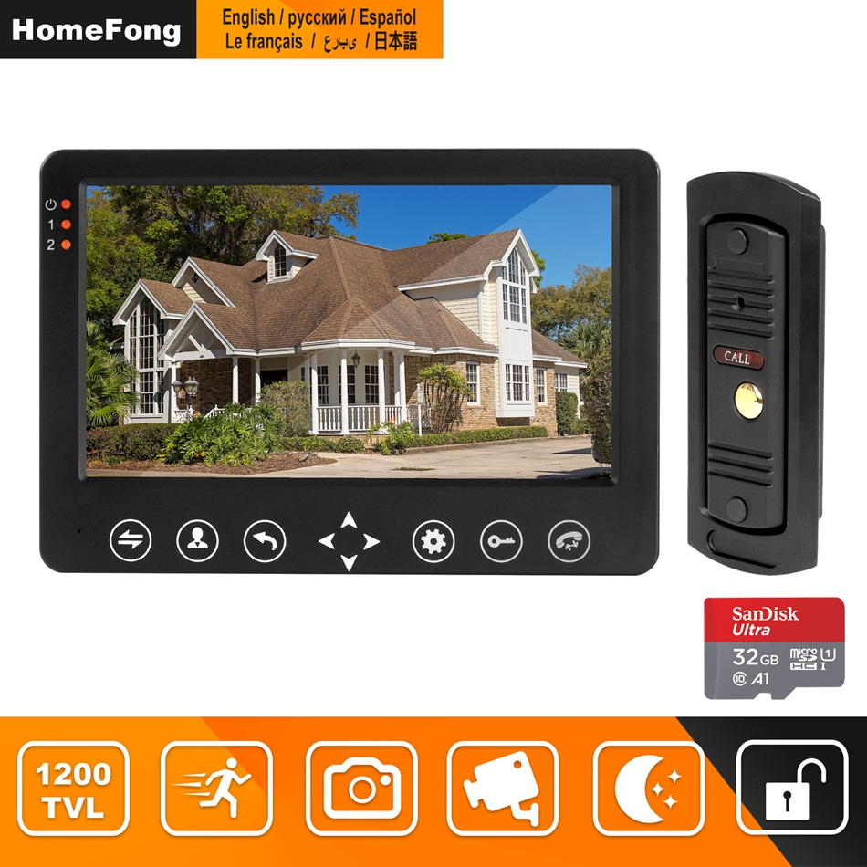 HomeFong 7 Inch Video Door Phone Door Intercom Support IR Motion Detect Record With 32G Memory Card For Home Video Intercom Kits