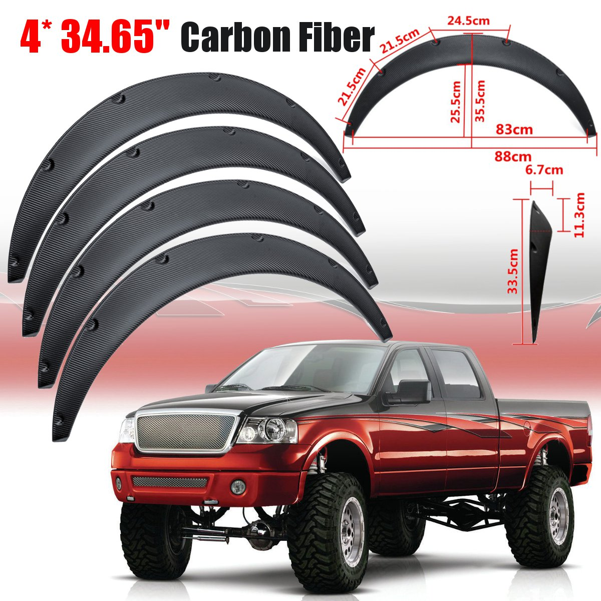 4Pcs Universal Flexible Car Body For Fender Flares Extension Wide Wheel Arches Car Mudguards For SUVs Car 88cm/34.65