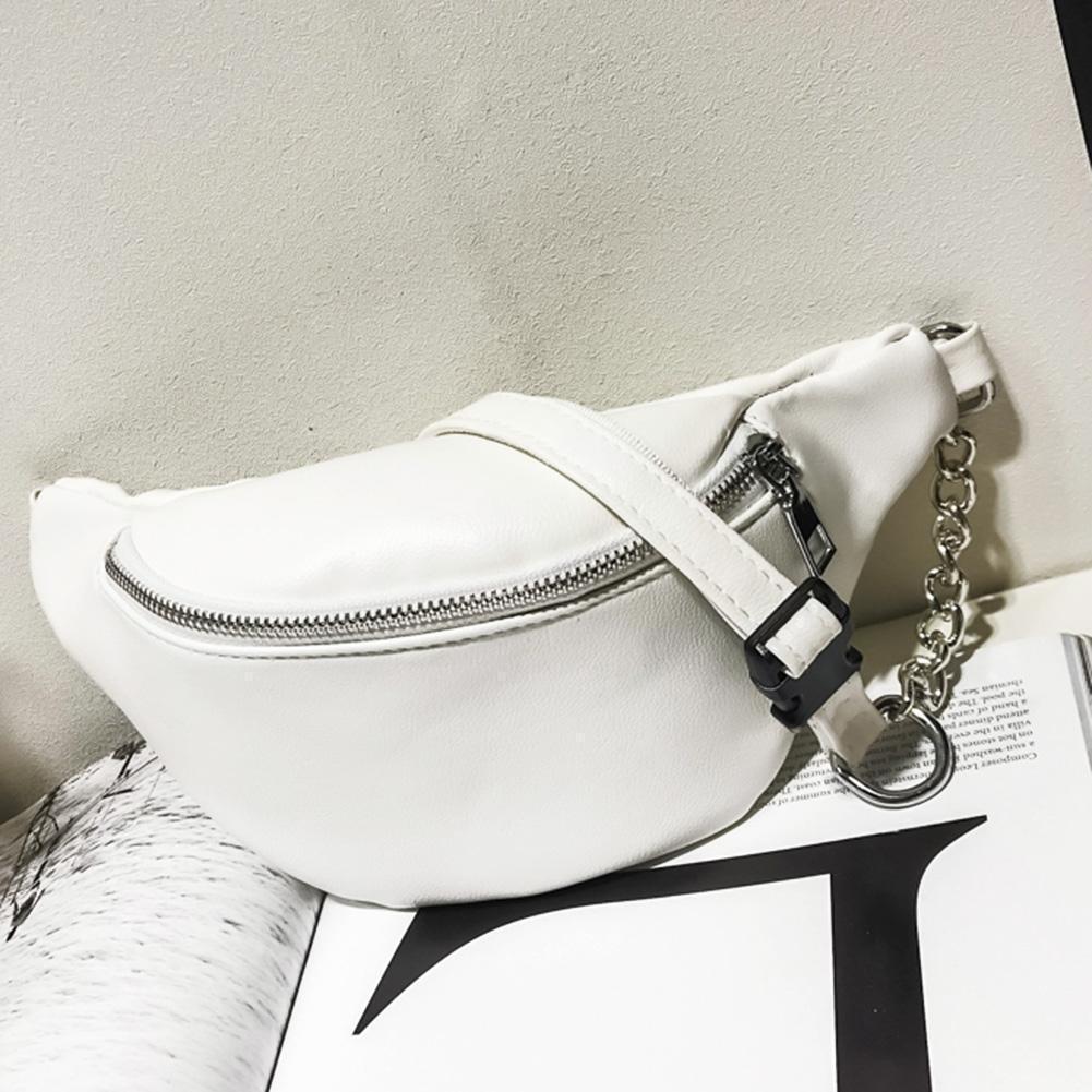 2019 Leather Waist Bag  Solid Zipper Women Hot Travel Waist Fanny Pack Holiday Money Sequins Mini Bum Bag Pouch