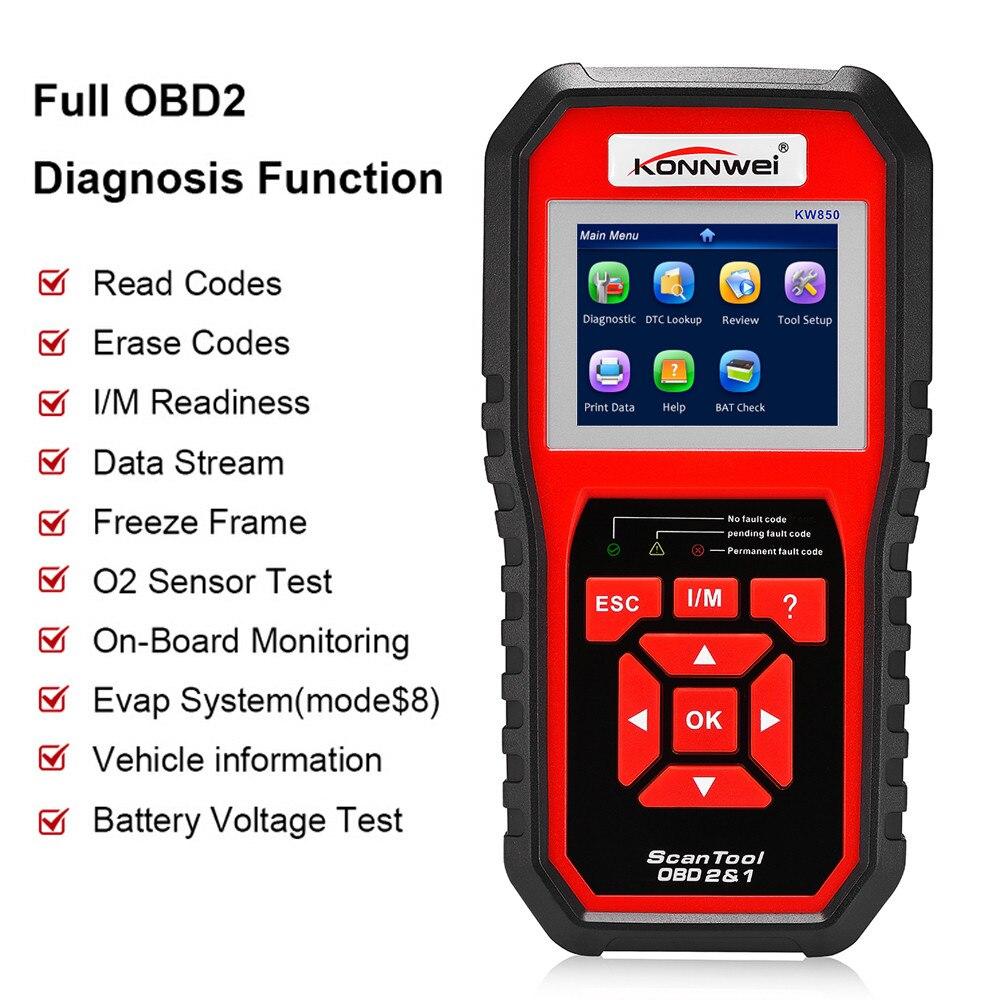 KONNWEI KW850 OBDII EOBD Volle OBD2 Auto Diagnose Werkzeug KW 850 OBDII Auto Scanner PK AD310 NT301 Update mit RU /UK/BR - 4