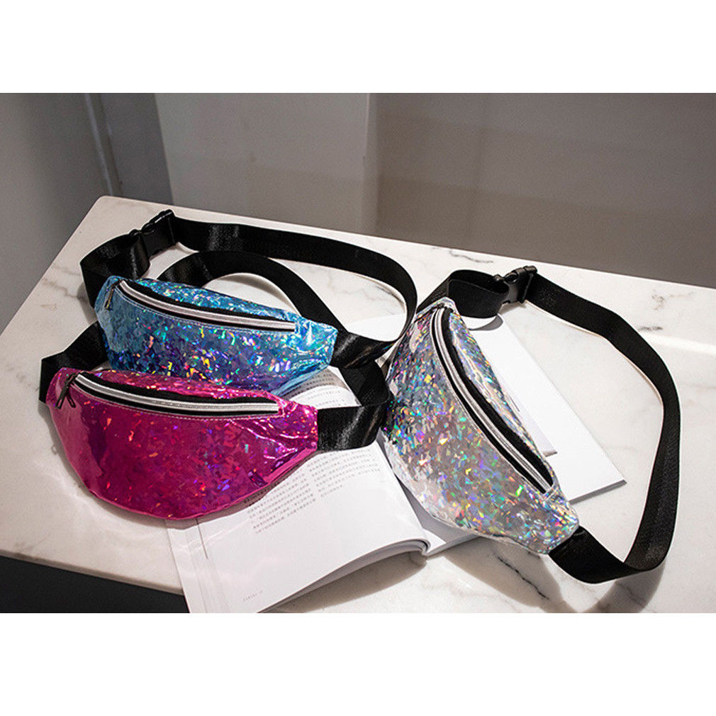 Blue//Silver Sequin Waist Bag Fanny Pack Magic Reversible Sequin Waist Pack Double Color Hip Pack Belt Bag for Outdoor Sports,Travel,Party