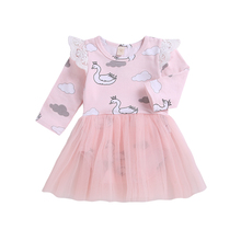 Cute Newborn Infant Baby Girls Dress Long Sleeve Cartoon Swa