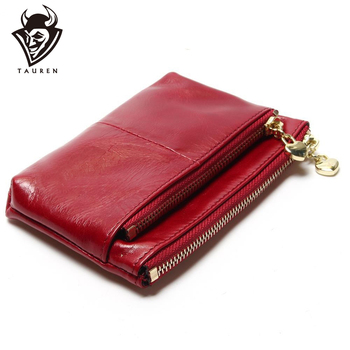 New TAUREN High Quality Genuine Leather Women Mini Wallet Oil Wax Coin Purse Credit Card Holder With Metal Ring