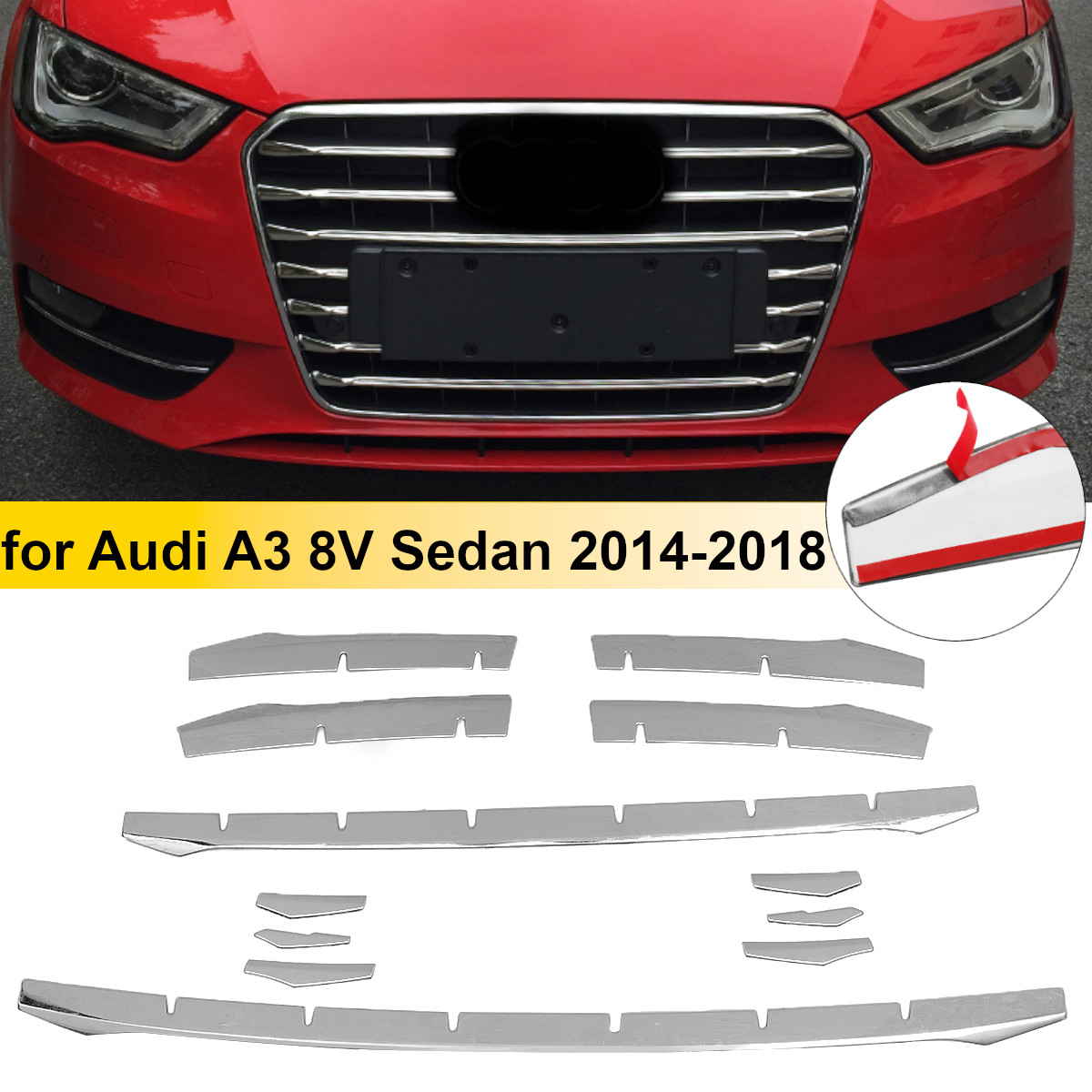 12pcs Stainless Steel Front Bumper Air Grille Grill Decor Cover Trim Car Front Fog Lamp Strips For <font><b>Audi</b></font> <font><b>A3</b></font> <font><b>8v</b></font> <font><b>Sedan</b></font> 2014-2016 image