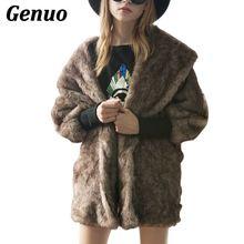 купить Warm Fur Coat Thick Winter Autumn Womens Female Jacket Outerwear Batwings Overcoat Plus Size XXXL Elegant Black Brown Genuo по цене 1861.45 рублей