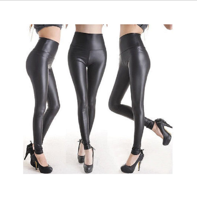 Sexy Women One Size Matt look high waist Stretchy faux leather Slim Fit pants   leggings   long Single layer PU Faux leather   legging