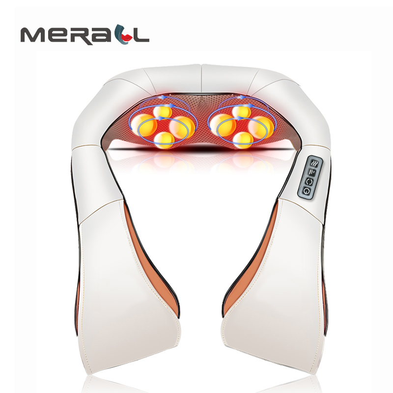 Electric Massager Shawl Cervical Back Neck Roller Heat Manual Home Car Relaxation Vibrating Physiotherapy Health Care Machine