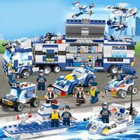Police Station Children Assembling Building Blocks Toys Compatible Legoeds City Police Command